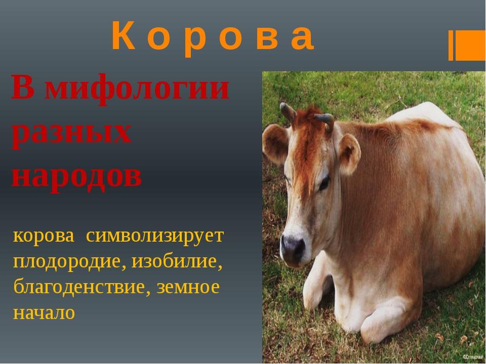 К о р о в а В мифологии разных народов корова символизирует плодородие, изоби...