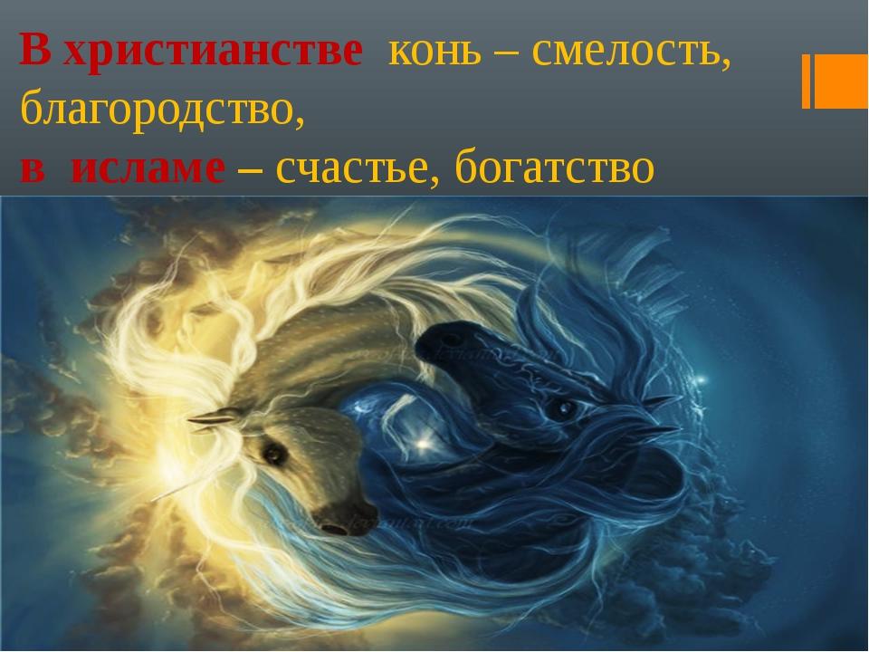 В христианстве конь – смелость, благородство, в исламе – счастье, богатство