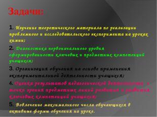 Задачи: 1. Изучение теоретического материала по реализации проблемного и иссл