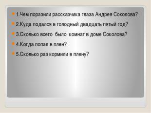 1.Чем поразили рассказчика глаза Андрея Соколова? 2.Куда подался в голодный