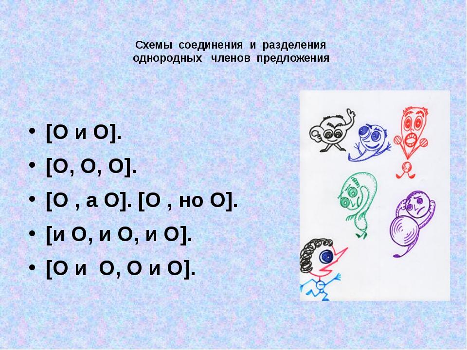 Схемы соединения и разделения однородных членов предложения [O и O]....
