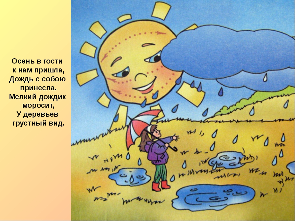 Осень в гости к нам пришла, Дождь с собою принесла. Мелкий дождик моросит, У...