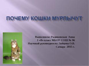 Выполнила: Радиковская Анна 1 «В» класс МБОУ СОШ № 96 Научный руководитель: