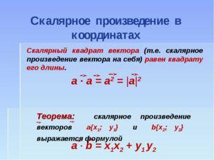 Скалярный квадрат вектора (т.е. скалярное произведение вектора на себя) равен