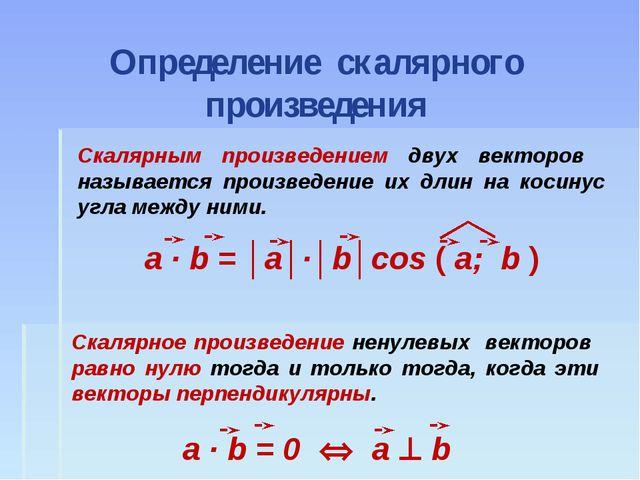 Определение скалярного произведения Скалярным произведением двух векторов наз...