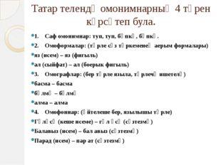 Татар телендә омонимнарның 4 төрен күрсәтеп була. 1. Саф омонимнар: туп, т