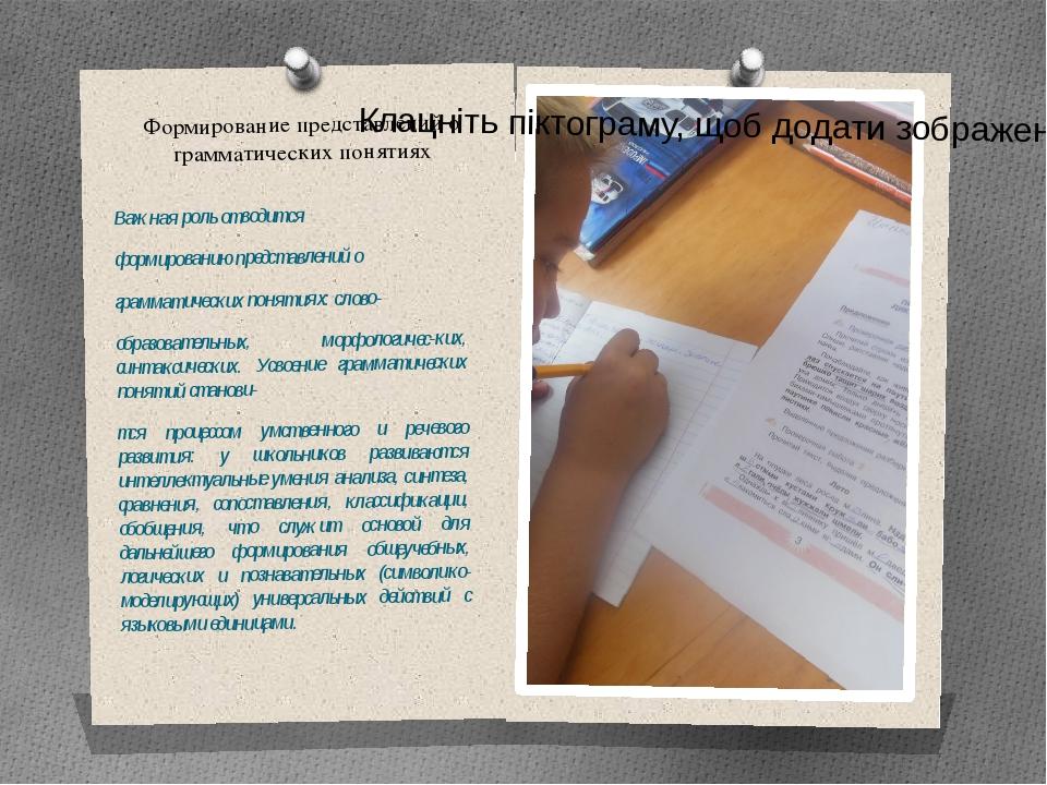 Формирование представлений о грамматических понятиях Важная роль отводится...