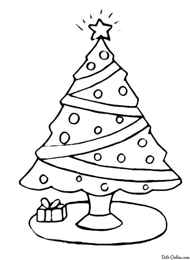 Раскраска Скромная елка с небольшим подарком Раскраски Елка