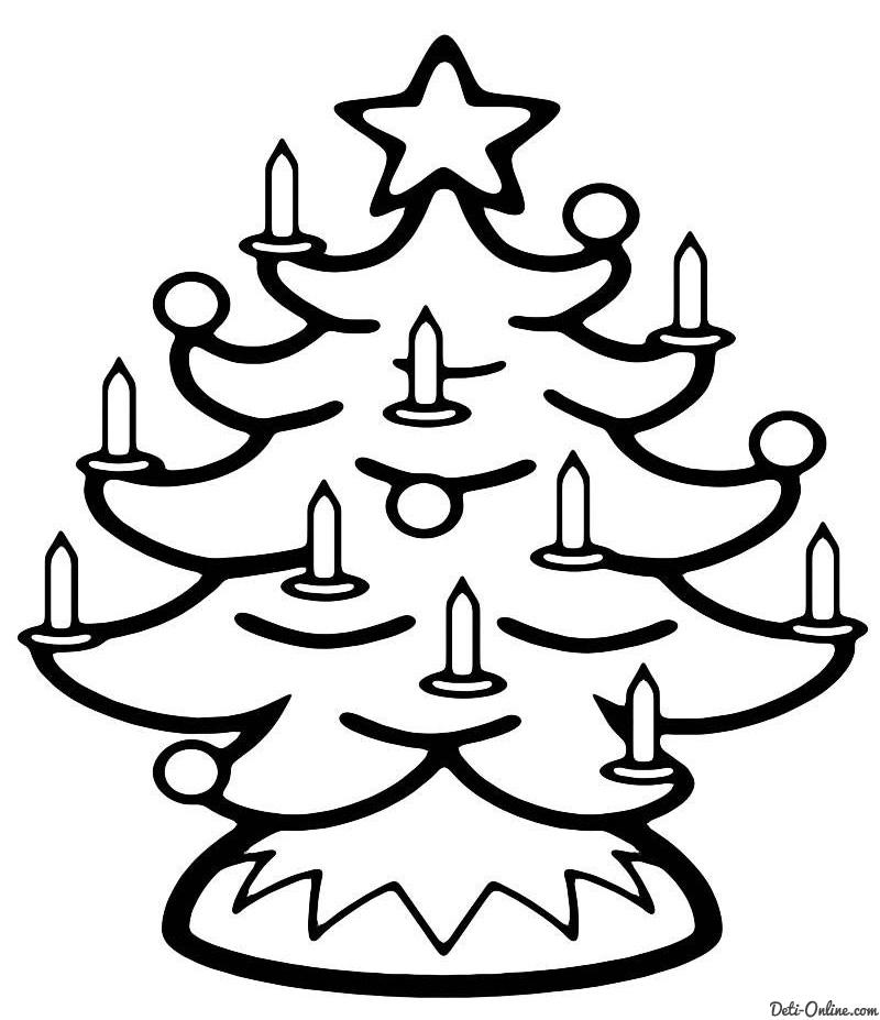 Раскраска Рождественская елка со свечками Раскраски Елка
