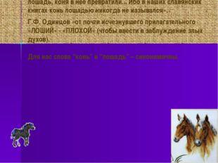 В.И. Даль «Конь – это лошадь добрая, не кляча». А.П. Сумароков «… от новых та
