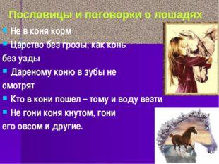 Не в коня корм Царство без грозы, как конь без узды Дареному коню в зубы не с