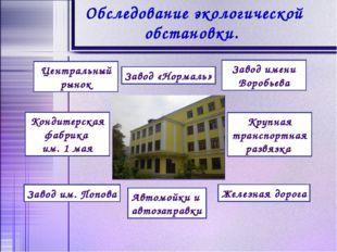 Обследование экологической обстановки. Центральный рынок Завод «Нормаль» Заво