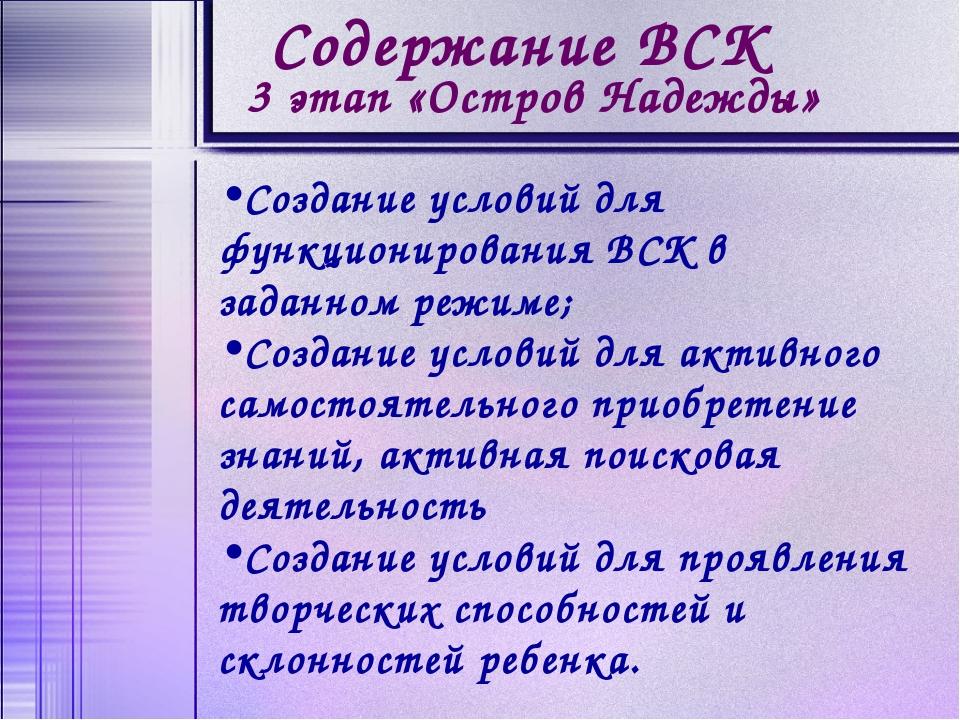 Создание условий для функционирования ВСК в заданном режиме; Создание условий...