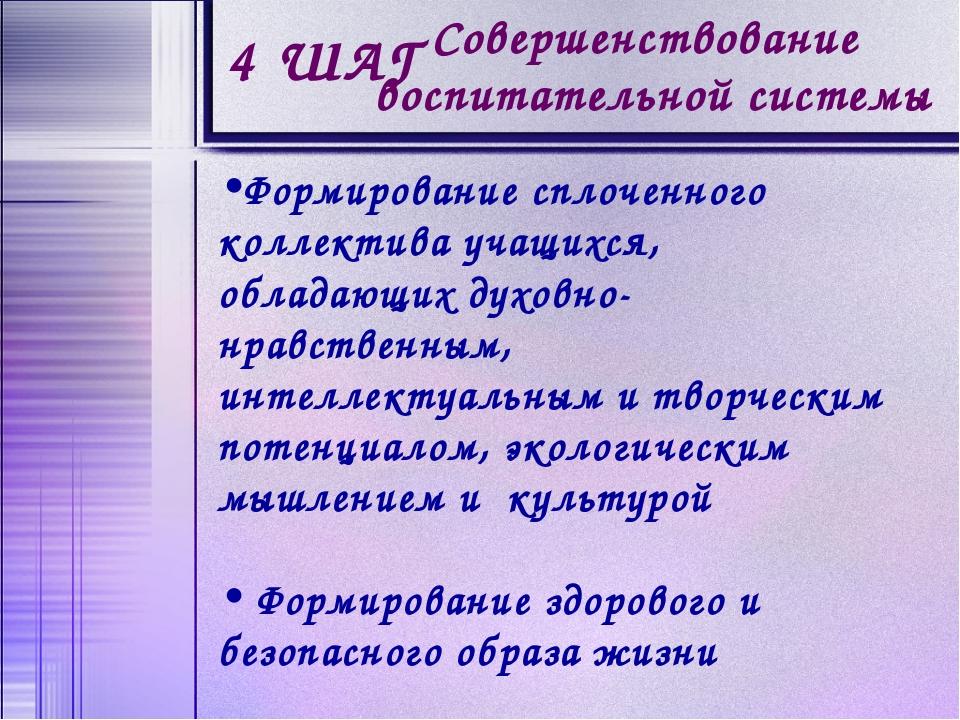 4 ШАГ Совершенствование воспитательной системы Формирование сплоченного колле...
