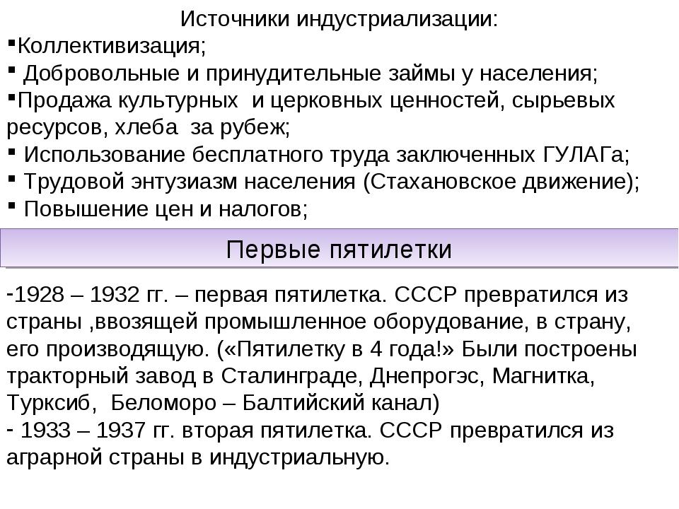 Источники индустриализации: Коллективизация; Добровольные и принудительные за...