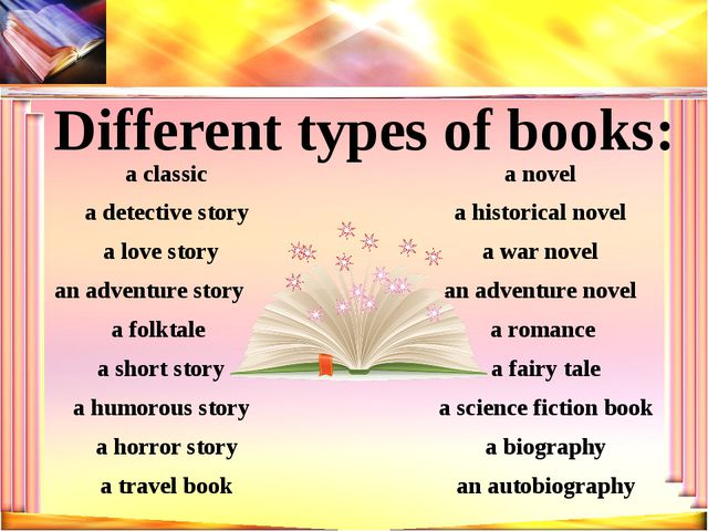 Different types of books: a novel an autobiography a science fiction book a w...