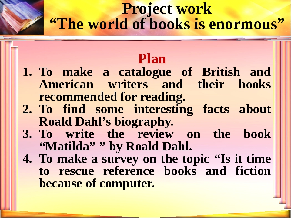 Plan To make a catalogue of British and American writers and their books reco...