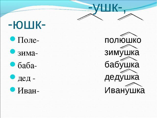 -ушк-, -юшк- Поле- зима- баба- дед - Иван- полюшко зимушка бабушка дедушка И...