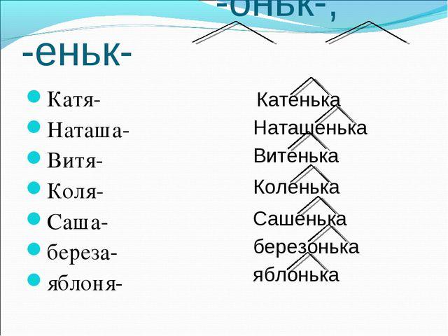 -оньк-, -еньк- Катя- Наташа- Витя- Коля- Саша- береза- яблоня- Катенька Ната...
