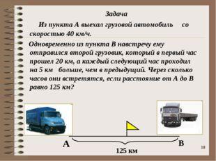 * Из пункта А выехал грузовой автомобиль со скоростью 40 км/ч. Одновременно и