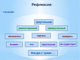 Рефлексия: Синквейн: треугольник прямоугольный не существует чертить равносто
