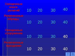 Священные книги религий 10 20 30 40 Религиозные обряды  10 20 30 40 С