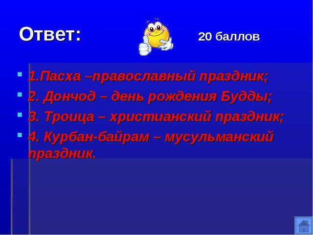 Ответ: 20 баллов 1.Пасха –православный праздник; 2. Дончод – день рождения Бу...