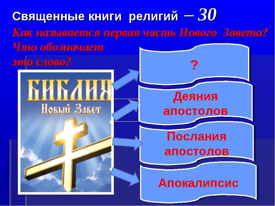Священные книги религий – 30 Как называется первая часть Нового Завета? Что...