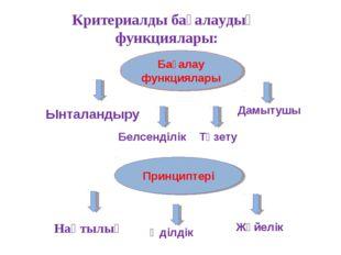 Бағалау функциялары Принциптері Критериалды бағалаудың функциялары: Ынталанды