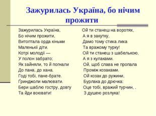 Зажурилась Україна, бо нічим прожити Зажурилась Україна, Ой ти станеш на вор