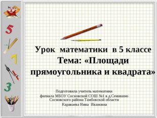 Урок математики в 5 классе Тема: «Площади прямоугольника и квадрата»  Подго