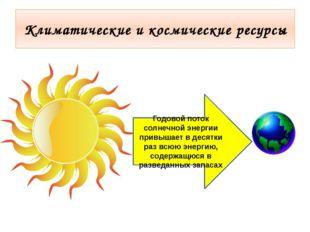 Климатические и космические ресурсы Годовой поток солнечной энергии привышает