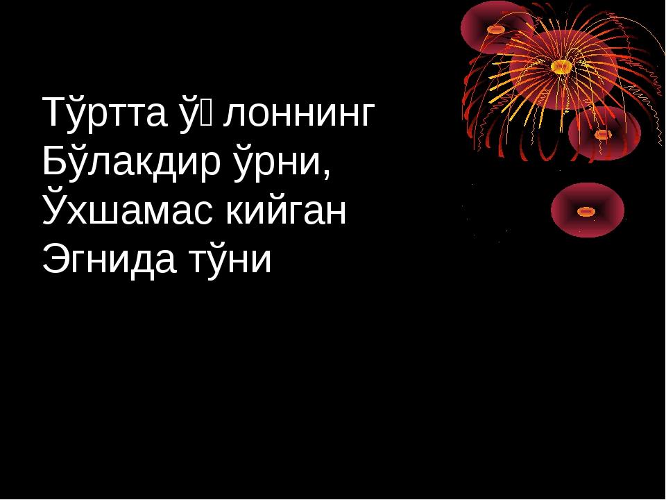 Тўртта ўғлоннинг Бўлакдир ўрни, Ўхшамас кийган Эгнида тўни