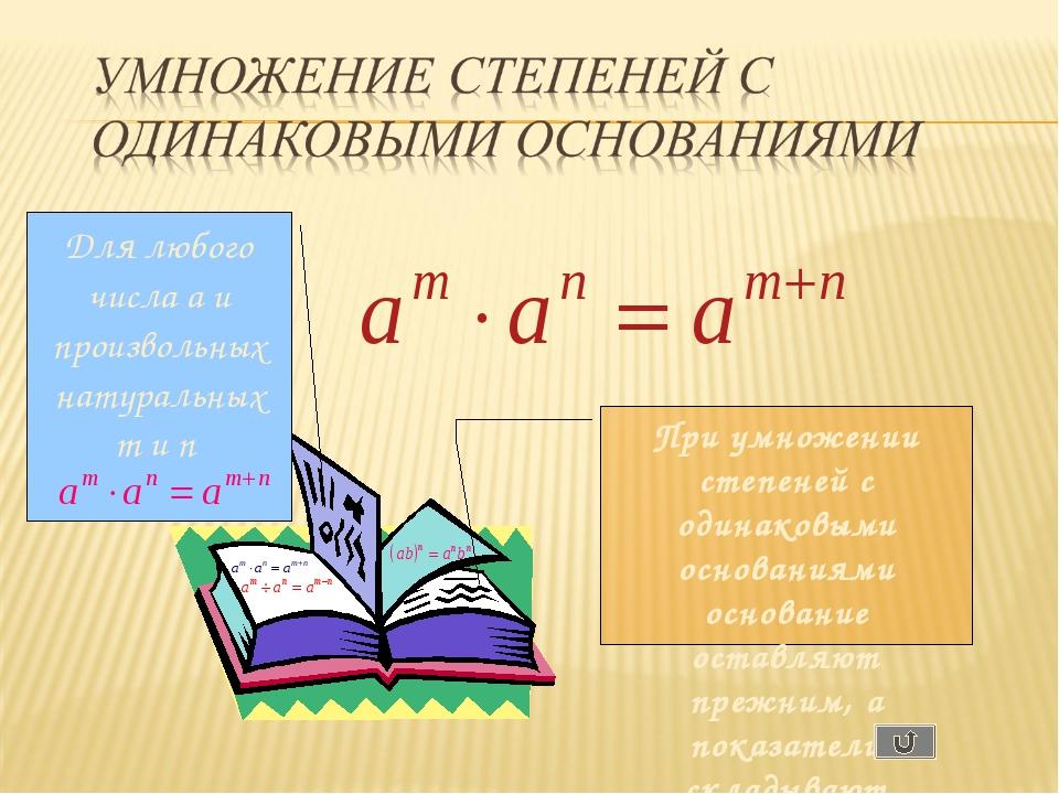 Для любого числа a и произвольных натуральных m и n При умножении степеней с...