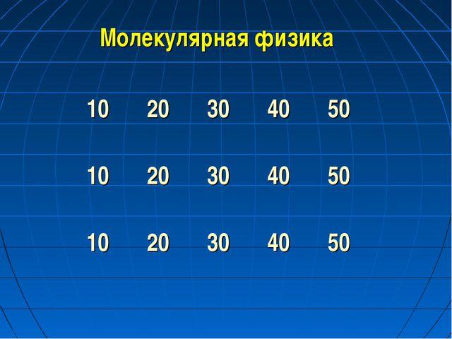 Молекулярная физика 1020304050 1020304050 1020304050