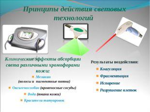Принципы действия световых технологий Клинические эффекты абсорбции света ра