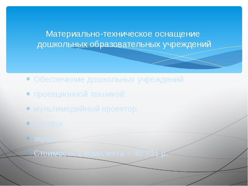 Обеспечение дошкольных учреждений проекционной техникой: мультимедийный проек...