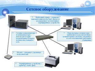 Файловый сервер – управляет накопителями на жестких дисках и поддерживает кол