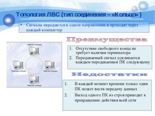Сигналы передаются в одном направлении и проходят через каждый компьютер Топо