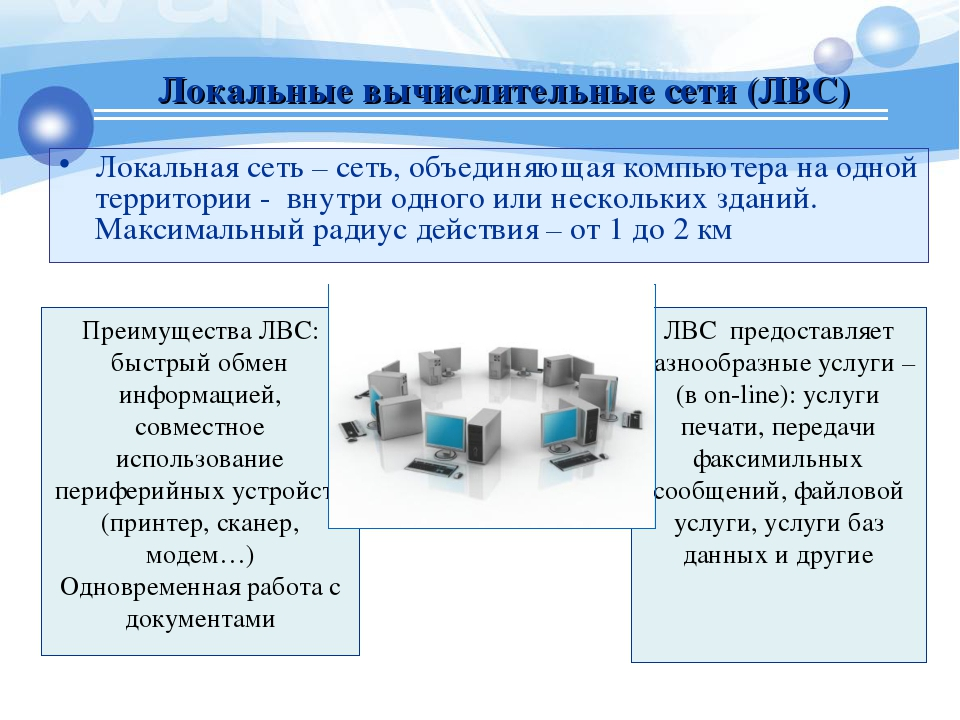 Локальные вычислительные сети (ЛВС) Локальная сеть – сеть, объединяющая компь...