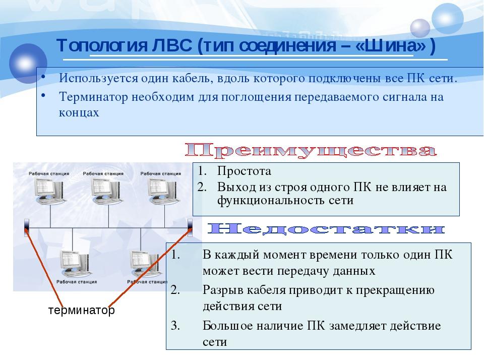 Используется один кабель, вдоль которого подключены все ПК сети. Терминатор н...
