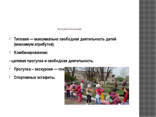 Прогулки делятся на несколько видов: Типовая — максимально свободная деятель...