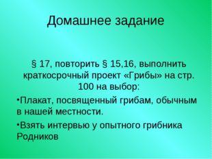 Домашнее задание § 17, повторить § 15,16, выполнить краткосрочный проект «Гри