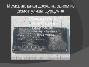 Мемориальная доска на одном из домов улицы Цурцумия