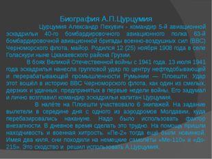 Биография А.П.Цурцумия Цурцумия Александр Пехувич - командир 5-й авиационной