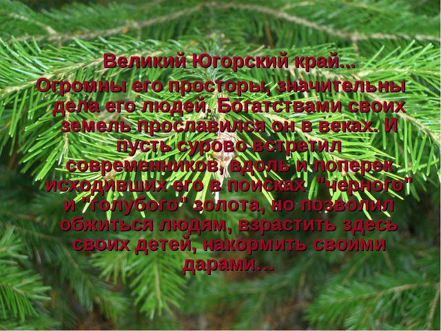 Великий Югорский край... Огромны его просторы, значительны дела его людей. Б...
