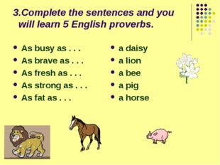 3.Complete the sentences and you will learn 5 English proverbs. As busy as .