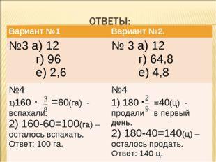 Вариант №1Вариант №2. №3 а) 12 г) 96 е) 2,6№ 3 а) 12 г) 64,8 е) 4,8 №4 160