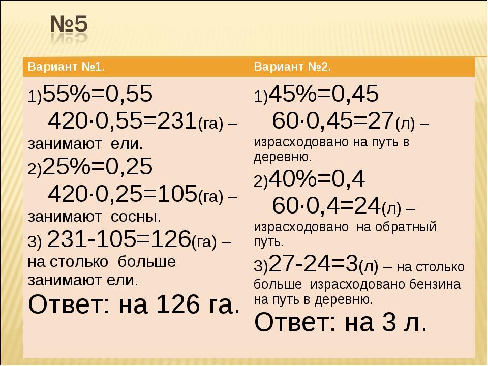 Вариант №1.Вариант №2. 1)55%=0,55 420·0,55=231(га) – занимают ели. 2)25%=0,2...
