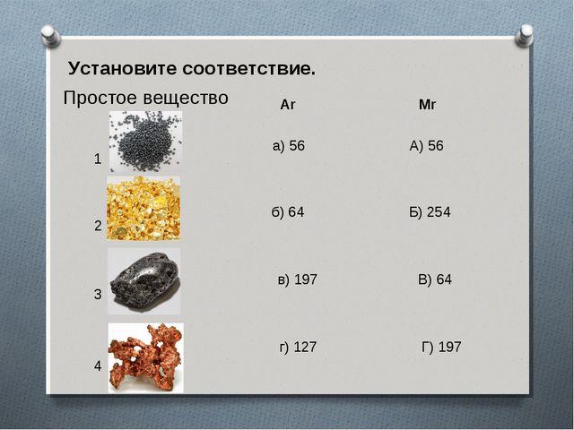 Установите соответствие. Простое вещество Ar Mr 1 2 3 4 а) 56 А) 56 б) 64 Б)...